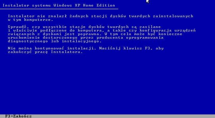 problem z instalacja windows xp